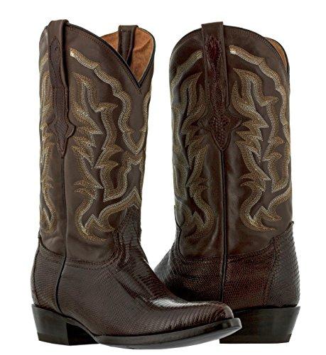 El Presidente - Men's Brown Genuine Lizard Skin Leather Cowboy Boots J Toe 7 D (Alligator Skin Boots Cowboy)