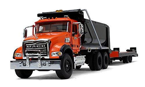 First Gear 1/50 Scale Diecast Collectible Orange/Black/Black Mack Granite Dump Truck with Beavertail Trailer (50-3403)