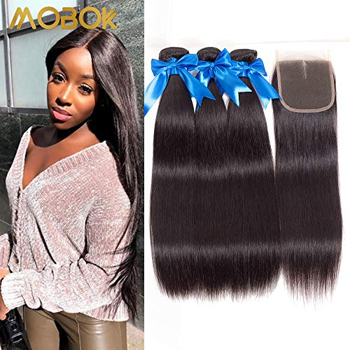 MOBOK (16 18 20+14) Brazillian Straight 3 Bundles with Middle Part Closure 100% Virgin Human Hair Bundles with 4x4 Lace Closure Straight Extension