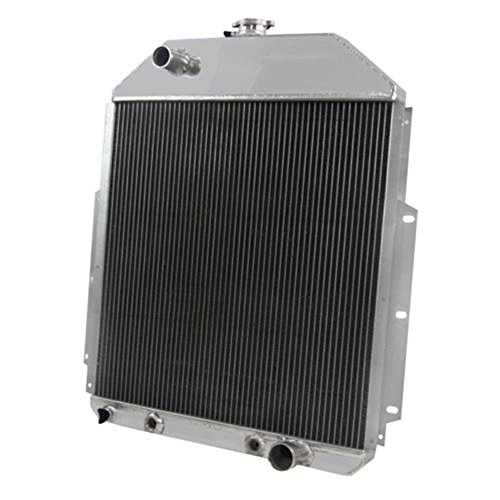 OzCoolingParts 42-52 Ford F-Series Radiator, 4 Row Core Full Aluminum Radiator for 1948-1952 Ford F1 F2 F3 F4 Pickup Truck, 1942-1947 Ford 1/2 Ton Pickup 3/4Ton Pickup, Chevy V8 Engine ()
