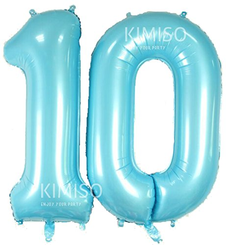KIMISO 10th Number Balloons, 40inch Foil Mylar Number 10 Birthday Balloons Anniversary Party Decorations Supplies Gifts (Blue Number 10) - 10 Balloons