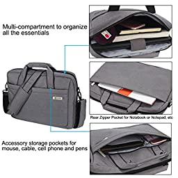 13-14 Inch (Black, Grey) Laptop Bag, Zikee Water Resistant 360° Shock-Proof Protective Multifunctional Notebook Shoulder Messenger Bag, for Business, Traveling, College and Office