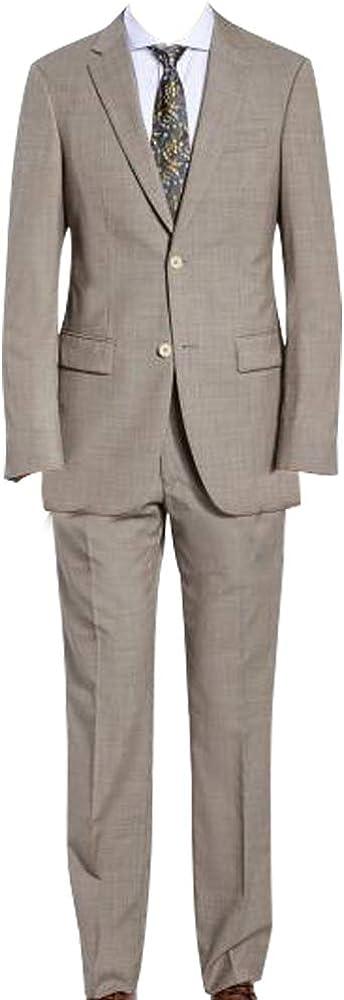 HBDesign Mens 2 Piece 2 Button Peak Lapel Business Formal Suits Light Khaki