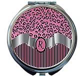 Rikki Knight Letter''R'' Light Pink Leopard Print Stripes Monogram Design Round Compact Mirror