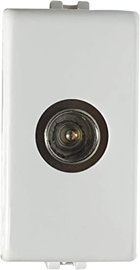 02475-M2/PLANA - Toma TV macho trabilla, toma antena TV compatible plana, blanco, 1 m, toma TV trabilla, fabricado en Italia