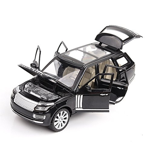MiaoDuo 1:24 Land Rover Range Alloy Diecast Car Model Pull Back metal Car Electronic Cars Toys For Children Kids Toys (Black)