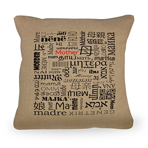 Mother Typography Pillow Cover - Mother in Different Languages