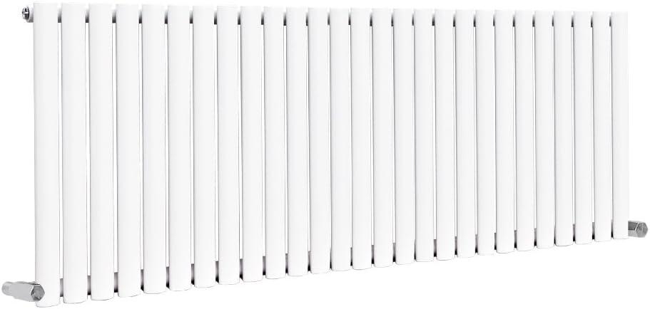 NRG White Single Panel 600x590mm Horizontal Oval Column Designer Radiator Bathroom Central Heating Perfect for Bathrooms Hallway Kitchen Living Room 15 Year Guarantee