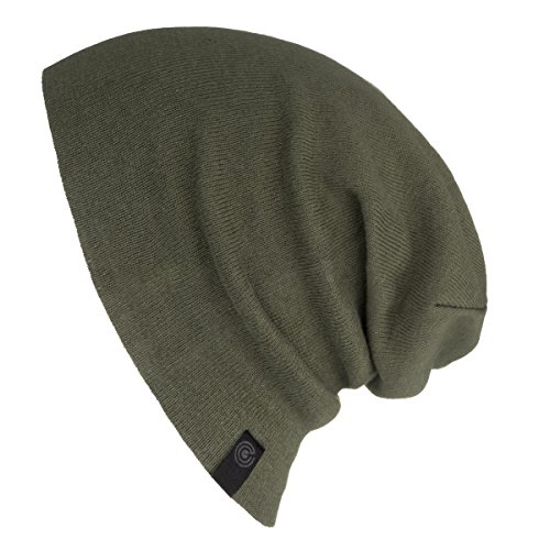 - Evony- Warm Slouchy Beanie Hat - Deliciously Soft Daily Beanie in Fine Knit - Army Green  One Size