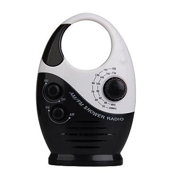 Radio de douche - Sayin Mini radio de douche, radio etanche pour salle de  bain, pendaison musique radio, AM / FM (noir & blanc)