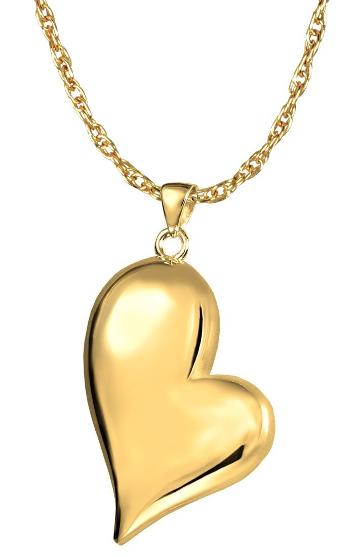 Memorial Gallery 3746gp Teardrop Heart 14K Gold/Sterling Silver Plating Cremation Pet Jewelry