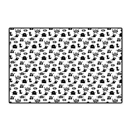 Alien Door Mat Small Rug Monochrome Monster Silhouettes Childish Drawings of Otherworldly Beings Halloween Bath Mat for Bathroom Mat 16