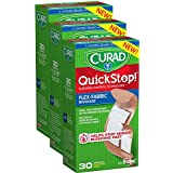 Curad Quickstop Instant Clotting Technology Flex-Fabric Bandages, Assorted Size, 30 Count, 3 Pack, 90 Count