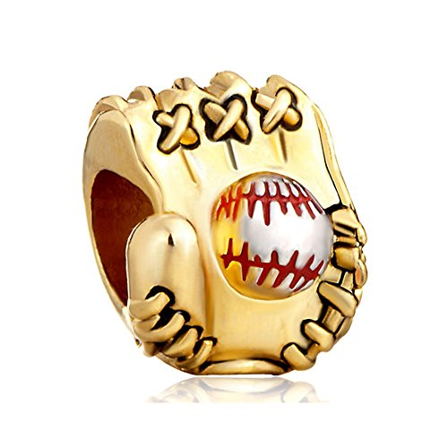 ReisJewelry Love Sports Charms Soccer Mom Baseball Football Charm Beads for Bracelets (Baseball Glove)