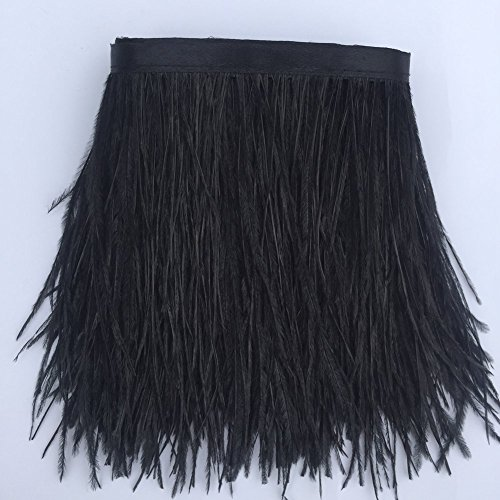 Diy Black Dress Costume (KOLIGHT Pack of 2 Yards Natural Dyed Ostrich Feathers 4~6 inches(10~15cm) Trim Fringe for DIY Dress Sewing Crafts Costumes Decoration (Black))