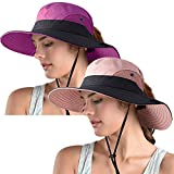 Womens Ponytail Sun Hat,UV Protection Foldable Beach Hat,Wide Brim Fedora Summer Beach Hat (2pack-Pink&Purple)