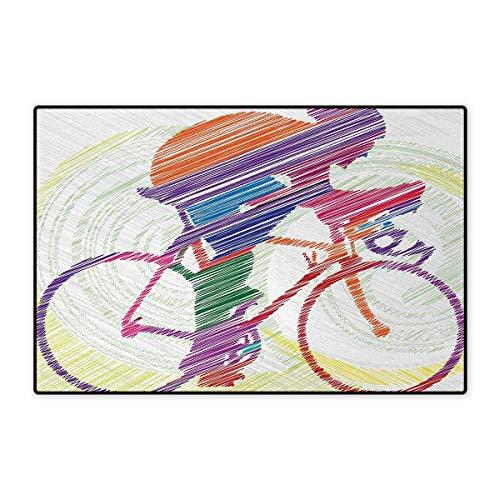 3' Grass Shear - Modern,Door Mats,Sketch Hand Drawn Image of a Cycling Man on a Bike with Sun Grass Artwork Print,Bath Mat Non Slip,Multicolor 20