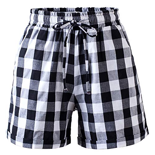 Women's Drawstring Elastic Waist Casual Comfy Cotton Plaid Beach Shorts Tag 4XL-US 16 Black White ()