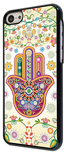 052 - Lucky Sharm Floral Hamsa Hand Shaby Chic Design iphone 5C Coque Fashion Trend Case Coque Protection Cover plastique et métal - Noir