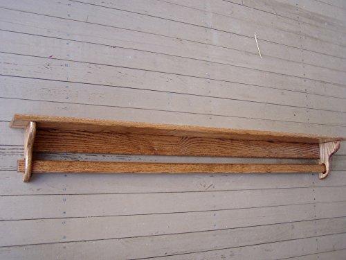 Quilt Holder Rack Wall Mount Shelf 60 Inch Oak Quilt Rack Wall Hanging ()