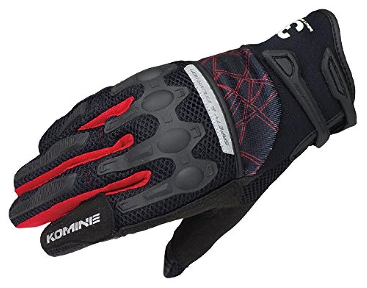 [해외] 코미네(KOMINE) 오토바이 플렉스 라이딩 메쉬 글러브 프로텍터 통기성 BLACK/RED XL 06-216 GK-216