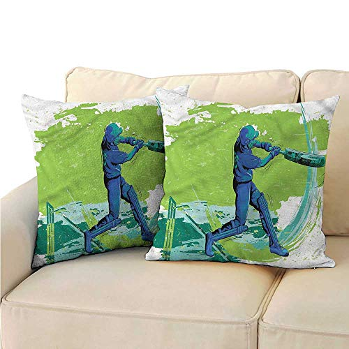 (RuppertTextile Sports Couple Pillowcase Cricket Player Pitching Machine Washable W19 x L19)