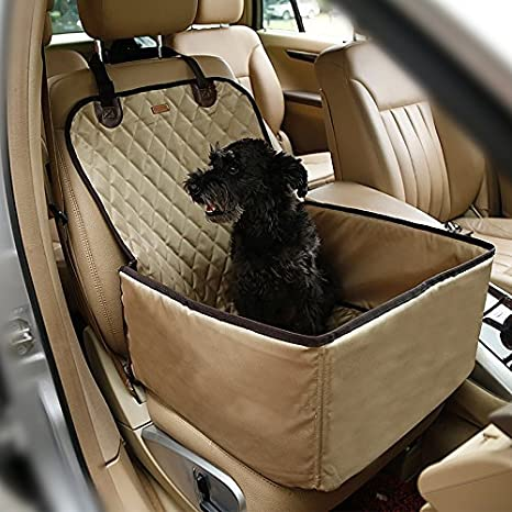 Pet Bucket Seat Cover Booster Seat 2 In 1 Deluxe Dog& Cat Front Seat Cover For Cars Non  Slip Backing Waterproof (Beige) by Amazon