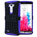 LG G3 Case, MagicMobile® Hybrid Heavy Duty Shockproof Armor Impact Dual Hard Black Plastic Layer and Purple Flexible TPU Skin Cover with Kickstand [Free Screen Protector Film and Stylus]