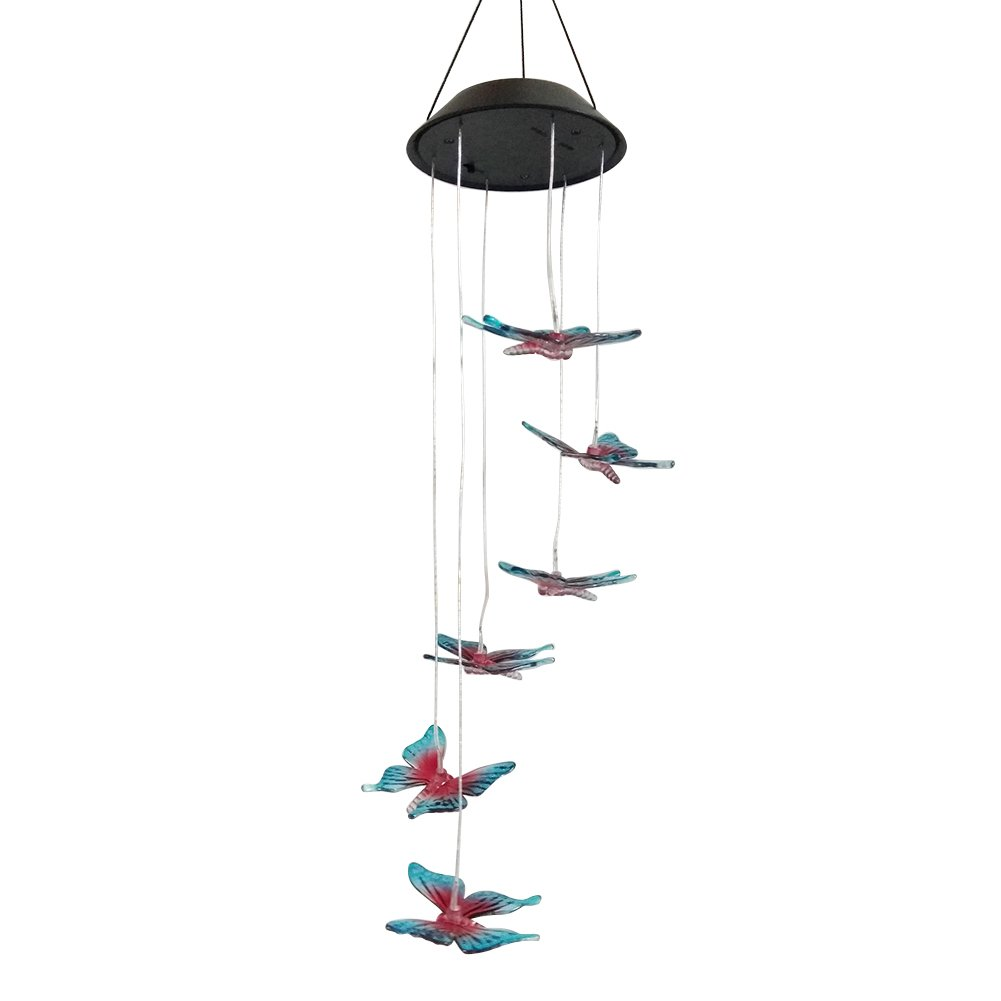 YOTHG Solar Mobile Wind Chime,Color Changing LED Butterfly Shape Wind Chime Solar Power LED Light, for Outdoor Indoor Gardening Lighting Decoration (1pc,Black)