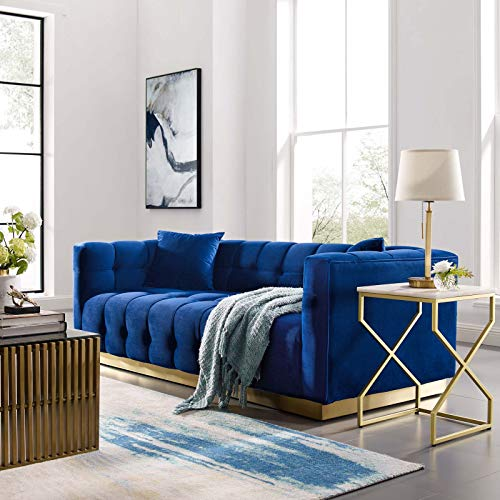Modway Vivacious Square Tufted Upholstered Performance Velvet Sofa with Two Throw Pillows in Navy ()