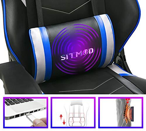 SITMOD Chaise Gaming de Massage Chaise de Jeu avec Repose-Pied, Ergonomique Chaise de Gamer Fauteuil de Bureau Racing…