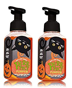 Bath & Body Works Bath and Body Works Purrfect Pumpkin Gentle Foaming Hand Soap - Pair of 2 - Sweet Cinnamon Pumpkin Scent with Halloween Black Cat Label