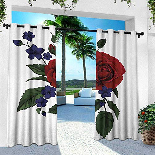 Hengshu Rose, Silver Grommet Top Drape,Rosebud with Little Blossoms Leaves Love and Passion Theme Artful, W84 x L84 Inch, Ruby Violet Blue Hunter Green ()