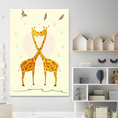 Wooden Framed 20x25.5inch Paint by Numbers Diy Painting, Paint by Number Kits- Giraffe Couple
