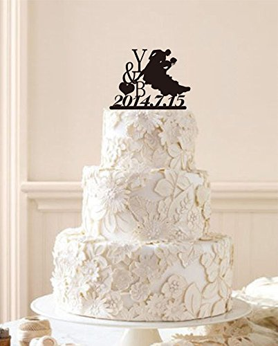 personaized wedding cake topperbride and groom dancing silhouette cake topper custom your big