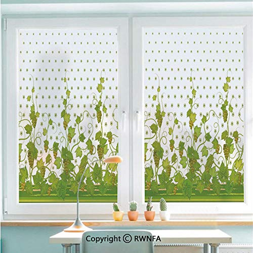 (Window Glass Sticker Door Mural Flowers Cluster Sherry Leaf Province Garden Retro Refreshing Tasty Countryside Static Cling Privacy No Glue Film Home Decorative 22.8x35.4inch,Green)