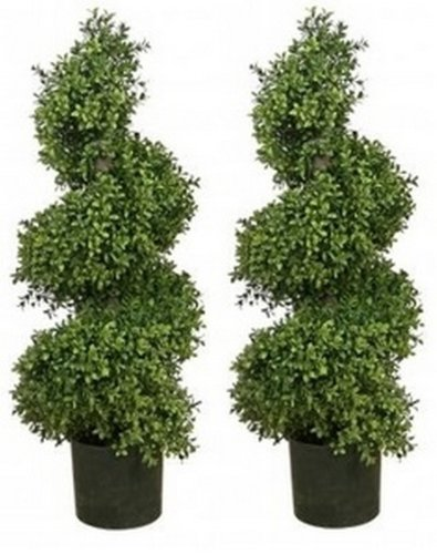 Silk Tree Warehouse Two 36 Inch Artificial Boxwood Spiral Topiary Trees Potted ()