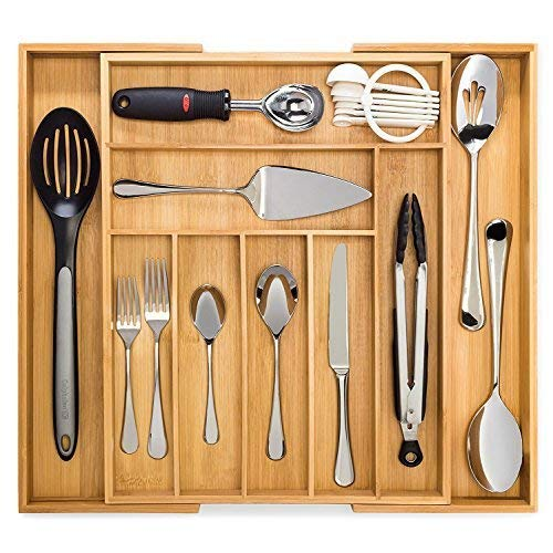 Bamboo Expandable Drawer Organizer, Premium Cutlery and Utensil Tray, 100% Pure Bamboo, Adjustable Kitchen Drawer Divider ... (7 Compartments Expandable)