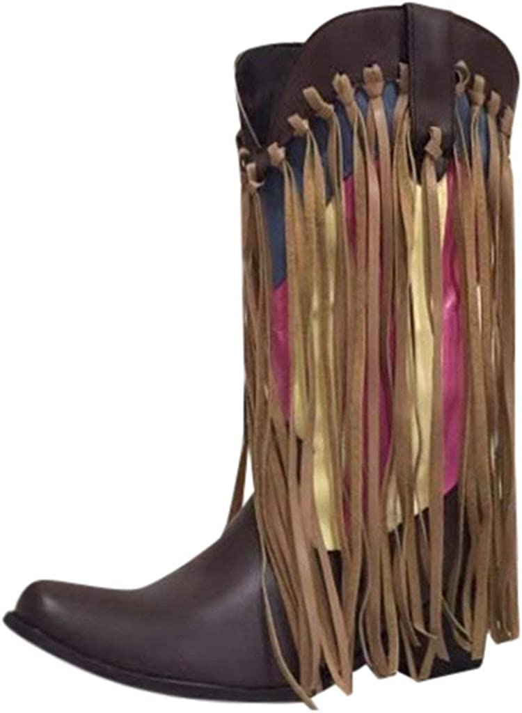 Miuye yuren Knee-High Boot Ladies Color Mixing Tassel Slouchy Shoes Winter Snow Boots Western Knight Boot