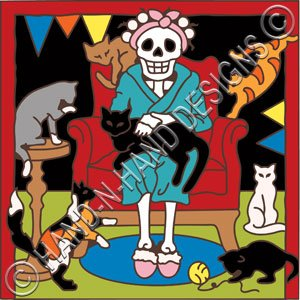 6x6 Tile Day of the Dead Cat Lady -