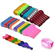 Woodlandu 112 pcs Assorted 15 different Colors 12 Inches Latex Round Balloons Red Yellow Blue Green Orange Pink Purple...and 7 Heart Shape with 10m/32.8ft Bind Ribbon