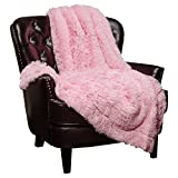 Chanasya Super Soft Long Shaggy Chic Fuzzy Fur Faux Fur Warm Elegant Cozy With Fluffy Sherpa Pink Throw Blanket (50