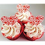24 pre-cut red love heart shaped edible cup cake toppers ideal for Valentines or just a romantic gesture by Topped Off (FREE UK SHIPPING)