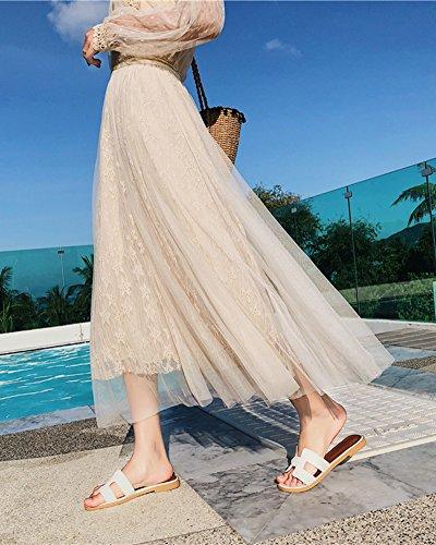 Femme Abricot en Jupe Mesh Elegant Taille Haute Dentelle DianShaoA Tulle Fluide Longue BP1q7wRw