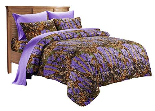 (20 Lakes Super Soft Microfiber Camo Comforter Spread (Twin, Purple))