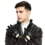 ZQ-Collection Mens Soft Italian Lambskin Leather Driving Gloves 100% Soft Italian Lambskin Italian Classic Design (Medium, Black(Without-Touch Screen))