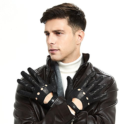 ZQ-Collection Mens Soft Italian Lambskin Leather Driving Gloves 100% Soft Italian Lambskin Italian Classic Design (Medium, Black(Without-Touch Screen)) by ZQ-Collection