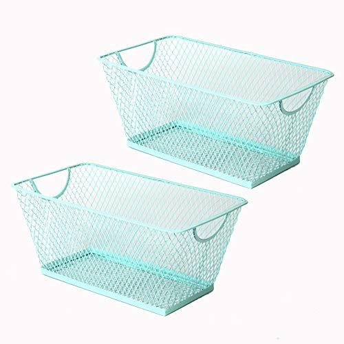 - SLPR Office Desktop Organizer Wire Basket (Set of 2, Aruba Blue) | Classroom Craft Room Kitchen Pantry Garage Desk Stackable Metal Tapered Storage Bin