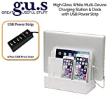 G.U.S. Multi-Device Charging Station Dock & Organizer - Multiple Finishes Available. For Laptops, Tablets, and Phones - Strong Build, High Gloss White with 4-Port USB Power Strip