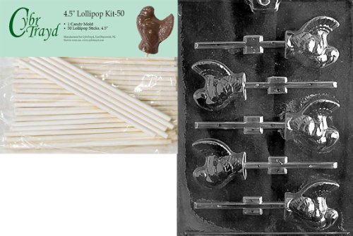 Cybrtrayd 45St50-T012 Small Turkey Lolly Thanksgiving Chocolate Candy Mold with 50-Pack 4.5-Inch Lollipop Sticks ()